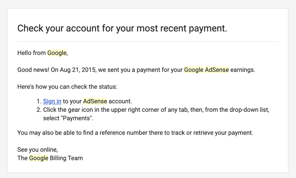 My first YouTube payment from Google Adsense